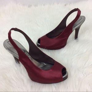 BCBG MaxAzria Red Maroon Satin High Heel Shoes 8.5